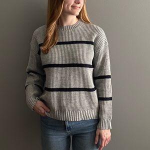 POL Grey Acrylic Sweater with Navy Stripes